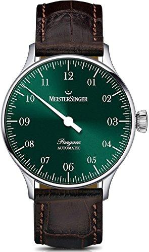 MeisterSinger Pangaea PM909 - Reloj de Pulsera para Hombre (Esfera Negra analógica, 40 mm, con Cristales de Zafiro Resistentes a los arañazos, Correa de Piel marrón, Reloj clásico Suizo Hombres)