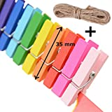 Desi Rang™ Wooden Color Clips 25 Nos, 35 mm (3.5 cm or 1.37 inch) for Art Craft Photographs, Pegs, Hanging Picts, Photo, DIY Decoration in Room Home