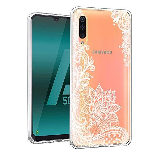 ZhuoFan Funda Samsung Galaxy A50, Cárcasa Silicona Transparente con Dibujos Diseño Suave TPU Gel Antigolpes de Protector Piel Case Cover Bumper Fundas para Movil Samsung A50 2019, Flor Blanca