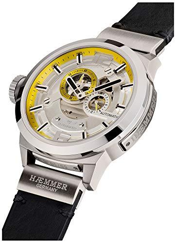 HÆMMER Great Liberty Skeleton Herren-Automatikuhr aus Edelstahl | Exklusiv Limitierte Herren-Uhr mit Kalbsleder Armband | Luxus-Uhr mit Hochglanzzeiger in Silber-schwarz
