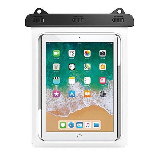 MoKo Wasserdichte Hülle, wasserdicht Tablethülle PC Schutzhülle Tasche für iPad Mini 2019, iPad 9.7, Samsung Tab A 10/Tab A 9.7/Tab E 9.6/Tab S2 S3 9.7, bis zu 10 Zoll Tablets - IPX8, Weiß