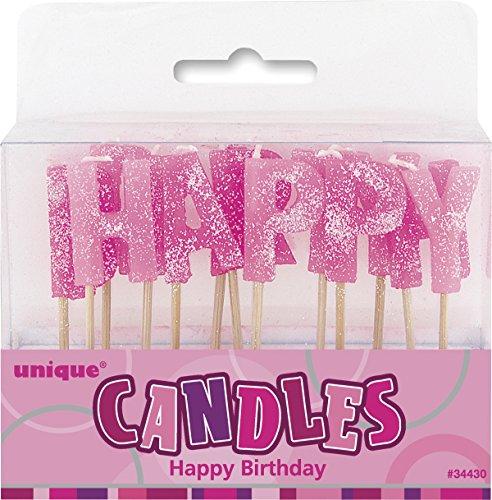 """Unique Party- Conjunto de 13 velas de cumpleaños""""Happy Birthday"""", Color rosa brillante (34430)"""