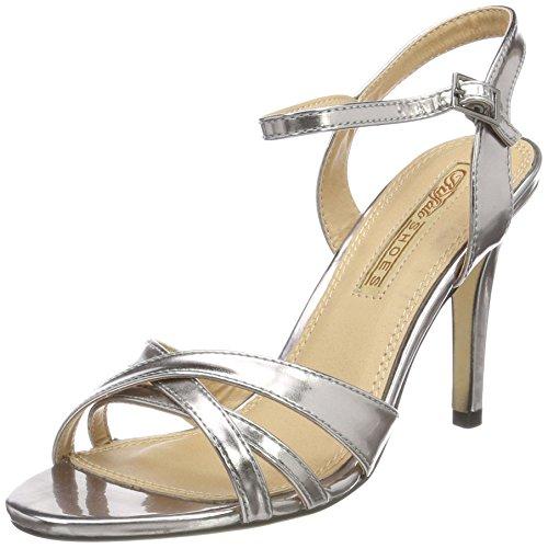 Buffalo Shoes 312703 METALLIC PU, Damen Knöchelriemchen Sandalen, Silber (PEWTER 01), 38 EU