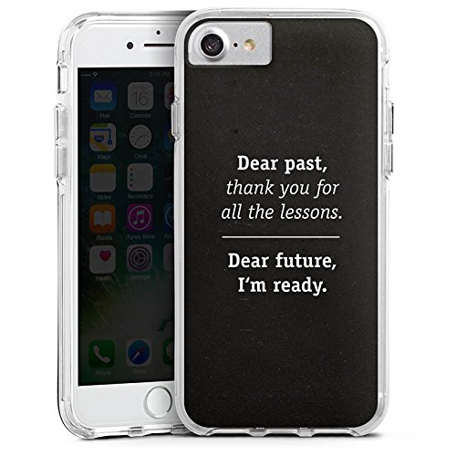 Apple iPhone 7 Bumper Hülle Bumper Case Glitzer Hülle Motivation Sprüche Phrases Bumper Case transparent