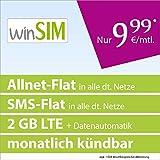 winSIM LTE All 2 GB [SIM, Micro-SIM und Nano-SIM] monatlich kündbar (2 GB LTE-Internet mit max. 50 MBit/s + Datenautomatik, Telefonie-Flat, SMS-Flat, 9,99 Euro/Monat) O2-Netz