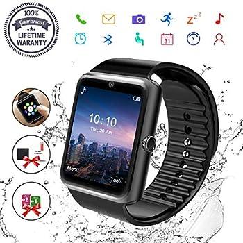 Reloj Inteligente, Hombre Smartwatch Hombre con Cámara Pantalla Táctil Ranura para Tarjeta SIM Teléfonos Inteligentes para Samsung Android Huawei iPhone 8 7 ...