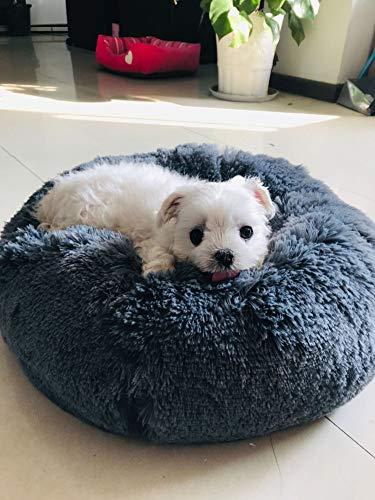 Segle Hundebett, Rutschfeste Unterseite, runde Form, weiches Donut-Haustierbett, luxuriöses Fell-Donut-Design, Verschiedene Größen, für Katzen, Welpen und kleine Hunde Nistkissen für Haustiere. -