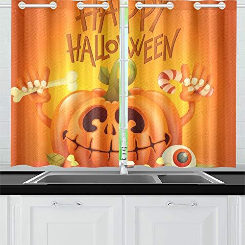 (JOCHUAN Lustiger Kürbis-Charakter auf orange Küchenvorhänge Fenster Vorhangebenen für Café, Bad, Wäscherei, Wohnzimmer Schlafzimmer 26X39 Zoll 2Stück)