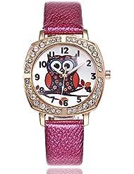 Coconano Relojes Mujer Baratos, Búho Lindo Moda Mujer Banda de Cuero de Cuarzo Analógico Reloj de Pulsera Redondo Relojes
