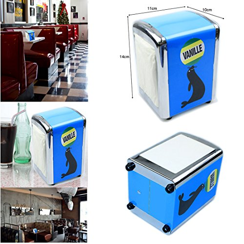 Jjonlinestore-dispenser di tovaglioli, in stile retrò, con 100 tovaglioli di carta, tovaglioli da cucina di ristoranti, bar e pub cafe home party-centrotavola décor blue sea lion