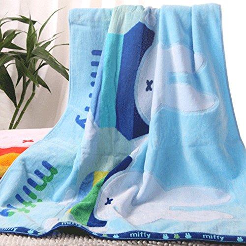 Accessoires salle de bain ZHFC ZHFC pur coton serviettes serviette foulard trois pièce gaine mou coupe hydrophile 148 * 74cm,blue