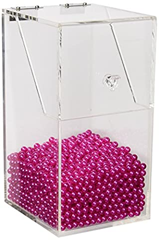 PuTwo Premium Quality Brush Holder With Free Rosy Pearls 5MM Acrylic Makeup Organizer Case Box Large