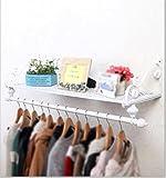 Kleiderständer Europäische Eisen Garderobe/rustikalen Stil Aufhänger/einfache Wand Rack (Größe: 60 * 28cm; Farbe: Weiß)