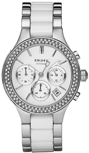 DKNY White Ceramic And Stainless Steel Chronograph Ladies Watch NY8181 Wrist Watch (Wristwatch)