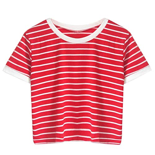 Lonshell Damen Gestreiftes Bauchfrei T-Shirt, Sommer Kurzarm Crop Tops Teenager Mädchen Sport Oberteile Bluse Rundhals Casual Hemd Pullover -