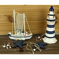 Truhe Set Leuchtturm 20,5cm Maritim 4tlg Rettungsring /& Boot Bad Deko