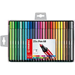 Stabilo Pen 68–Estuche de 25rotuladores de punta media–colores surtidos