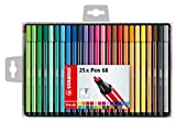 Stabilo Pen 68–Set mit 25Filzstiften, mittlere Spitze–verschiedene Farben