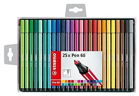 STABILO Pen 68 - Coffret de 25 feutres pointe moyenne - Coloris assortis