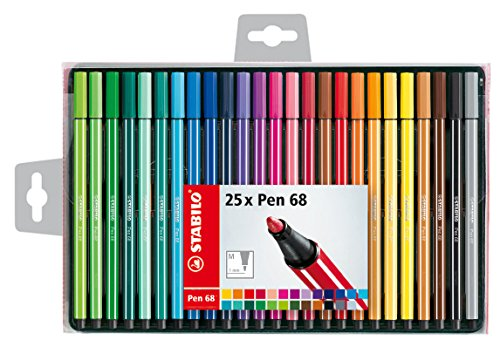 Stabilo pen 68 – set di 25 pennarelli punta media – colori assortiti