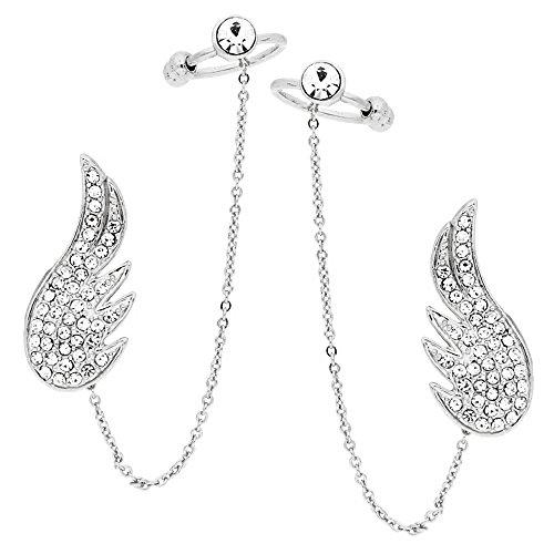 MYA art Damen Ohrklemme Fake Helix Ohr Piercing Ring Ear Cuff Ohrringe Feder mit Kette Zirkonia Strass Silber Set Links und Rechts MYAWGOHR-41-LI (Gothic Ear Cuff)