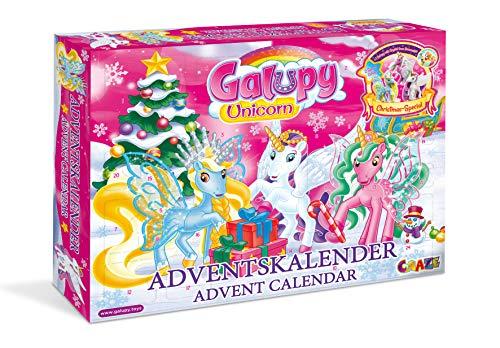 CRAZE Adventskalender GALUPY UNICORN Glitzerpferde 2019 Einhorn Weihnachtskalender für Mädchen Spielzeug Kalender tolle Inhalte 19450