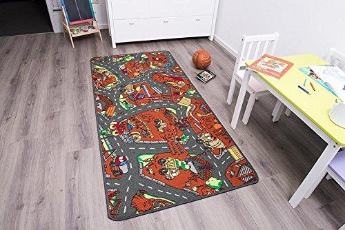 Kinderteppich mit Baustelle zum Spielen, 95x200cm ✓ Schadstoffgeprüft ✓ Anti-Schmutz-Schicht | Auto-Spielteppich, Auto-Teppich für Jungen & Mädchen | Fußbodenheizung geeignet