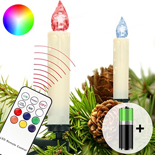 Homelux 10 RGB LED Weihnachtskerzen, Christbaumkerzen, Weihnachtsbeleuchtung, Fernbedienung Kabellos inkl. Batterien