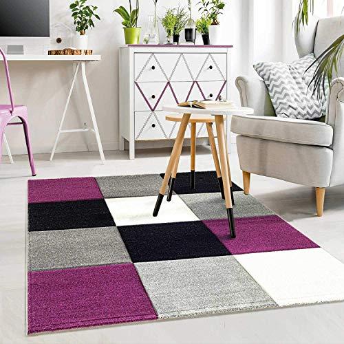 VIMODA Moderner Designer Teppich Kariert Hoch Tief Strukturen Lila Grau Weiß Schwarz ; Maße: 120x170 cm - Schwarz Teppich Und Lila