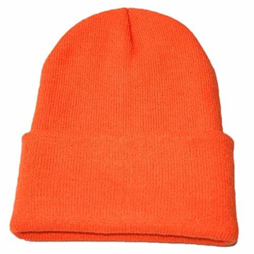 Caldo cappello da sci invernale,yanhoo cappellino hip hop unisex slouchy knitting beanie (formato libero, arancione)