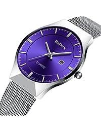 Relojes de Diseñador Simple Para Hombres Reloj Lujo Calendario Ultra Delgado Milano Hombre con Correa de