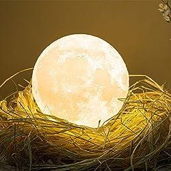 3D Lampada luna LED Moon Lampada, luce lunare notturna a LED, lampada da tavolo, controllo tattile luminosità due toni, Luce Notturna per Bambini Regalo di Natale lampada da comodino Diametro 12cm