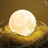 Mond Lampe, 3D Nachtlicht Nachttischlampe Stimmungslicht LED Licht, Dimmbare Touch Lampe für Wohnzimmer von ibell, Geschenk für Kinder & Freundin auf Halloween Weihnachten Und Geburtstag 18cm