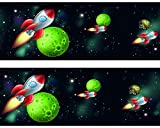 wandmotiv24 Bordüre Rakete im Weltraum Wandborde Borde 520cm Breite - Vlies Tapetenbordüre Borte
