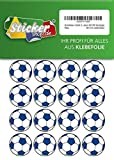 66autocollants, Football, Stickers, 30mm, blanc/bleu, en PVC, film, imprimé,...