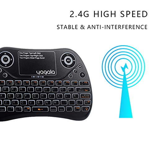 YAGALA Mini Teclado inalámbrico retroiluminado 2.4GHz con Touchpad Mouse combinato de Color 9 Cambios de Color per Android TV Box,  PC,  Pad,  Smart TV,  X- Box,  HTPC