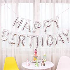 Idea Regalo - JZK Festone palloncini buon compleanno argento Happy Birthday palloncini pellicola di alluminio lettere alfabeto decorazione compleanno