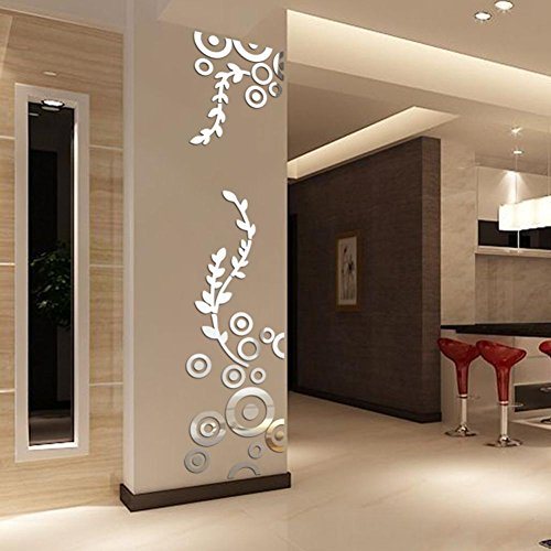 avitoz Acryl Wandtattoo für Wohnzimmer Schlafzimmer Wand-Dekor Küche Wanddekoration (Silber) ()