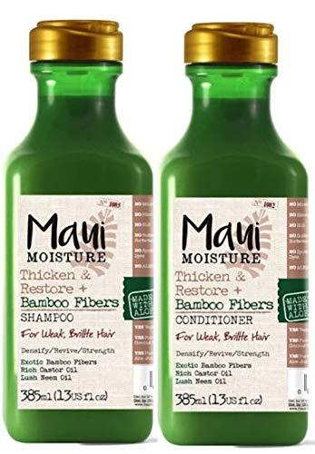 (Lot de 2) Maui l'humidité Épaissit et restauration en fibre de bambou Shampooing X 385 ml et Maui l'humidité Épaissit et restauration en fibre de bambou Après-shampoing X 385 ml