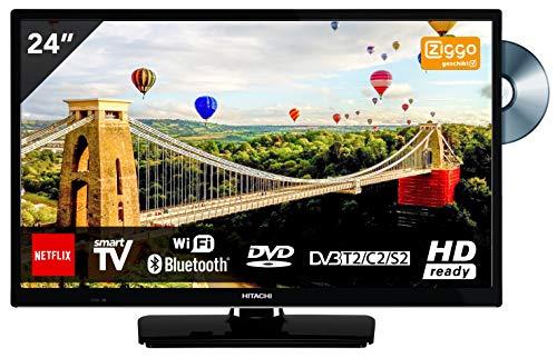 Hitachi 24HE2003 TV 24 inch (61 cm) HD ready Smart TV avec Lecteur DVD Noir [Classe énergétique...