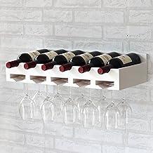 botellero de madera de la pared de madera que cuelga boca abajo colgando botellero soporte para la taza de exhibición del vino titular de colgar / puede contener 6 botellas de vino, una taza de 15-20