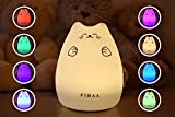 FIRAA Cheeky Cat & Kitty LED Night Light for Babies & Children with Slow Colour Change every 5 Seconds - Continuous Warm White & 7 Colour Changing Multicolour Breathable Modes - Tap control & USB Rechargeable with Soft Silicone & Washable Face - Ideal for bedrooms - Dual Mode with up to 15 Hours Light Time