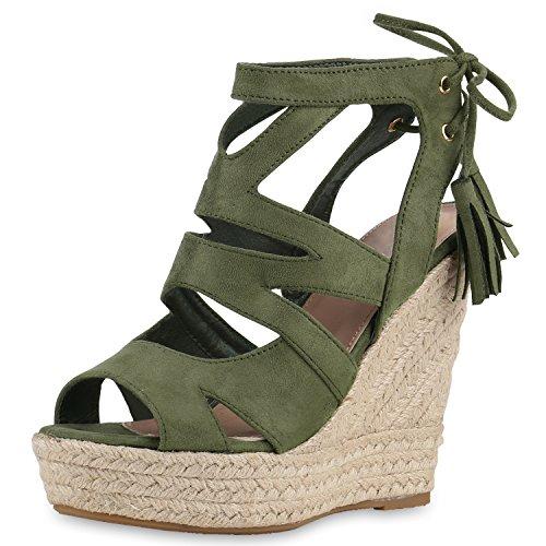 SCARPE VITA Damen Sandaletten Bast Keilabsatz Espadrilles Wedges Schuhe 164182 Dunkelgrün Quasten 37