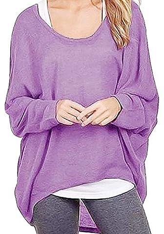 Lymanchi Damen Asymmetrisch Fledermaus Pullover Shirt Batwing Langarm Oversized Sweatshirt Top Lila M