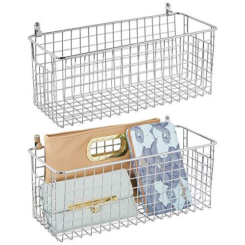 mDesign 2er-Set Wandregal aus Metall - mittelgroßer Ablagekorb für Flur, Schlafzimmer und andere Räume - Organizer für Briefe, Geldbörsen, Sonnenbrillen oder Badaccessoires - silberfarben
