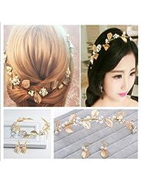 OULII Peral de hoja de oro boda nupcial Tiara peluca aretes accesorios de boda