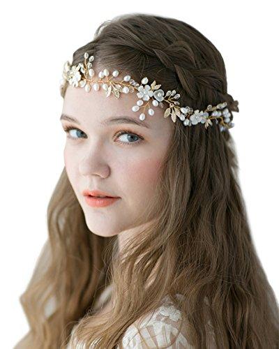 SWEETV Light Gold Bridal Headband Freshwater Pearl Hair Vine Band - Bohemian Women Hair Accessories