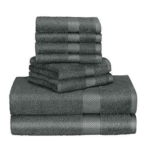 Homitt Handtuch-Set, 8er Pack Baumwolle Handtücher, Badetücher, 4 Gesicht Handtücher 34x34cm, 2 Handtücher 34x76cm, 2 Duschtücher/Badetücher 70x140cm Grau
