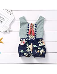 59307acc5 ZXCVBN 0-4Y Niños Ropa para niñas Niñas Mameluco Floral sin Mangas  Monopantalones para niña