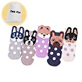 Dee Plus Women's Mädchen Socken 5 Pack,Lustige Nette Pet Hunde Malerei Cartoon Süße Design,Sommersaison Tierohren Frauen Casual Socken-Geschenk Aufbewahrungstasche